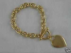 【送料無料】ブレスレット アクセサリ― ミルタグブレスレットgold plated 50 mils heart tag 8 bracelet