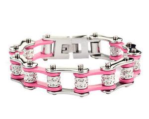 【送料無料】ブレスレット アクセサリ― ステンレスシルバーピンクバイクチェーンブレスレットblingwomens stainless steel silver pink double bling bike chain bracelet us seller