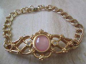 【送料無料】ブレスレット アクセサリ― エイボンビンテージローズクォーツブレスレットボックスavon vintage**genuine rose quartz bracelet**large 7 12 *** in box*** 1992