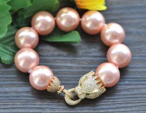 【送料無料】ブレスレット アクセサリ― ピンクラウンドサウスシーシェルパールブレスレットクーガーp7409 huge 8 20mm pink round south sea shell pearl bracelet cz cougar