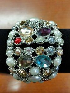 【送料無料】ブレスレット アクセサリ― カラフルクリスタルパールスイングシルバーワイドカフブレスレットvery heavy colorful crystal amp; pearl hinged silver wide cuff bracelet make er