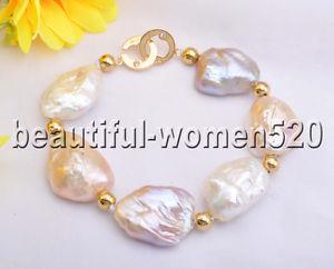 【送料無料】ブレスレット アクセサリ― ピンクホワイトバロックパールビーズブレスレットインチz8287 38mm pink white baroque keshi reborn pearl bead bracelet 8inch