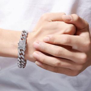 送料無料 ブレスレット アクセサリ― シルバーアイスヒップホップインチマイアミチェーンリンクブレスレットsilver iced out hip hop 12mm 再入荷/予約販売! wrist chain link curb miami 8inch 5ct cz 25%OFF bracelet