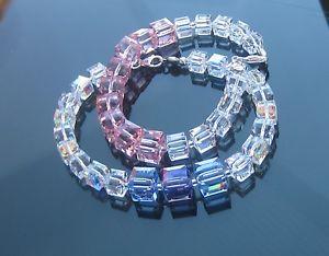 【送料無料】ブレスレット アクセサリ― クリスタルキューブピンクタンザナイトシルバーブレスレットスワロフスキーcrystal cube pink or tanzanite 5601 silver bracelet made with swarovski elements