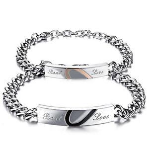 【送料無料】ブレスレット アクセサリ― ステンレススチールブレスレットファッションクールセット2 stainless steel bracelets real love partnerarmbnder set gift fashion cool