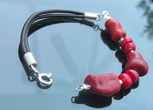 【送料無料】ブレスレット アクセサリ― ビーズシルバーシルバーブレスレットirregular shape red coral beads and silver 925 silver genuine leather bracelet