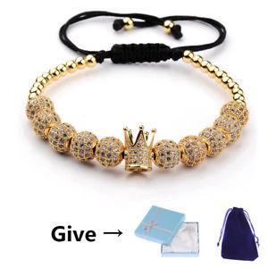 【送料無料】ブレスレット アクセサリ― マイクロボールクラウンブレスレットクリスマスluxury women men micro pave cz ball crown braided adjustable bracelets xmas gift