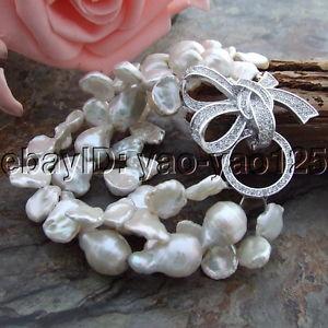 【送料無料】ブレスレット アクセサリ― ストランドホワイトパールブレスレットh121213 8 3 strands white keshi pearl bracelet