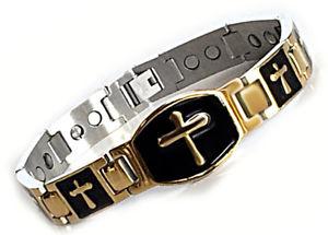【送料無料】ブレスレット アクセサリ― ステンレスメンズクロスブレスレットextra strength stainless steel mens magnetic bracelet with cross