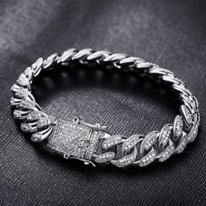 【送料無料】ブレスレット アクセサリ― ヒップホップブリングインチマイアミチェーンリンクシルバーブレスレットアウトアイスiced out hip hop bling 9inch 12mm miami curb chain link silver bracelet 10ct cz