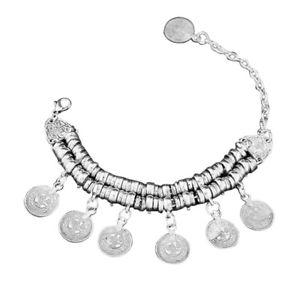 【送料無料】ブレスレット アクセサリ― ホットトルコボヘミアンエスニックビンテージシルバーコインブレスレット20xhot turkish jewelry bohemian ethnic vintage silver coin bracelet anklet a3v6