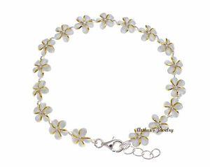 【送料無料】ブレスレット アクセサリ― イエローゴールドシルバーハワイアンプルメリアフラワーリンクブレスレットトーンyellow gold silver 925 hawaiian plumeria flower link bracelet cz 2 tone 6mm 7