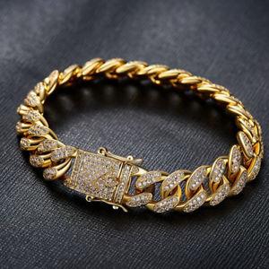 【送料無料】ブレスレット アクセサリ― ゴールドアイスヒップホップインチマイアミチェーンリンクブレスレットgold iced out hip hop 12mm 9inch miami curb chain link wrist bracelet 5ct cz