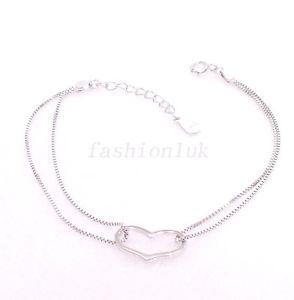 【送料無料】ブレスレット アクセサリ― ファッションブレスレットソリッドシルバーボックスチェーンfashion1uk 163cm heart love charm bracelet 925 solid silver box chain