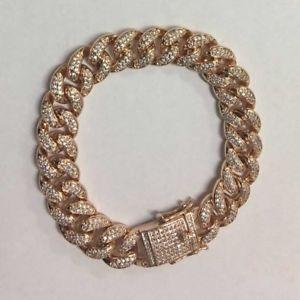【送料無料】ブレスレット アクセサリ― ローズゴールドアイスヒップホップインチマイアミチェーンストラップブレスレットrose gold iced out hip hop 12mm 9inch miami curb chain wrist bracelet 5ct cz