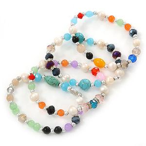 【送料無料】ブレスレット アクセサリ― カラフルストーンパールクリスタルビーズフレックスmulticoloured semiprecious stone, freshwater pearl and crystal bead flex bracel