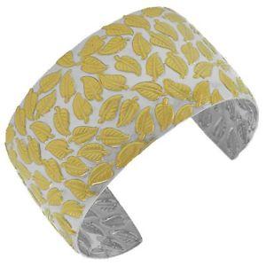 【送料無料】ブレスレット アクセサリ― ステンレススチールシルバーイエローゴールドリーフオープンカフブレスレットstainless steel silver yellow gold leaf open end womens cuff bracelet