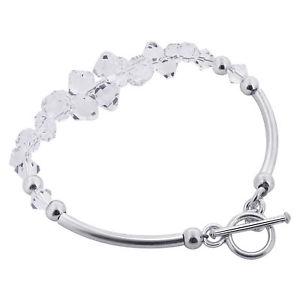 【送料無料】ブレスレット アクセサリ― シルバーアクセントビーズスワロフスキーエレメントクリスタルハンドメイドブレスレットクリア925 silver accents beads swarovski elements clear crystal handmade bracelet 75