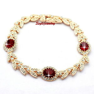 【送料無料】ブレスレット アクセサリ― ルビーローズゴールドスワロフスキーブレスレットt40ruby red rose gold filled wedding wheat bracelet made with swarovski crystal t40