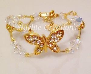 【送料無料】ブレスレット アクセサリ― クリスタルクリアバタフライブレスレットシルバーゴールドclear ab crystal amp; butterfly bridal bracelet handcrafted in silver or gold