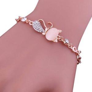 【送料無料】ブレスレット アクセサリ― ×ピンククリスタルピンクオパールチェーンブレスレット10xpink crystal cute cats eye opal chain bracelet for women pink c4l8