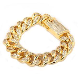 【送料無料】ブレスレット アクセサリ― czホップ818mmマイアミリンクチェーンブレスレットiced out cz hip hop gold 8 curb curb miami link chain 18mm wide wrist bracelet