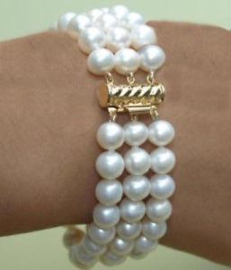【送料無料】ブレスレット アクセサリ― サウスシーホワイトパールブレスレットvery charming natural 3 row 89mm south sea white pearl bracelet 758 14k