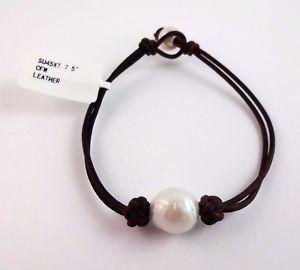 【送料無料】ブレスレット アクセサリ― ブレスレットインチbrown leather bracelet with cultured fresh water pearls 75 inches