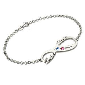 【送料無料】ブレスレット アクセサリ― パーソナライズインフィニティブレスレットシルバーブレスレットpersonalized infinity birthstone bracelet silver name bracelet for women