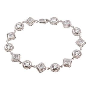 【送料無料】ブレスレット アクセサリ― スターリングシルバーマルチシェイプテニスブレスレットsterling silver multi shape cz stones tennis bracelet