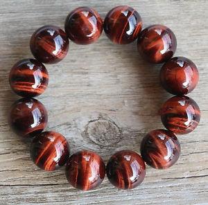 【送料無料】ブレスレット アクセサリ― ブラジルレッドタイガースブレスレット14mmnatural brazil red tigers eye gemstone round beads bracelet 14 mm