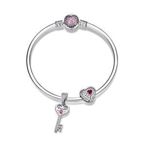 【送料無料】ブレスレット アクセサリ― キーハートスターリングシルバーブレスレットファッションサイズwostu key heart dangle 925 sterling silver bracelet fashion women jewelry 2 size