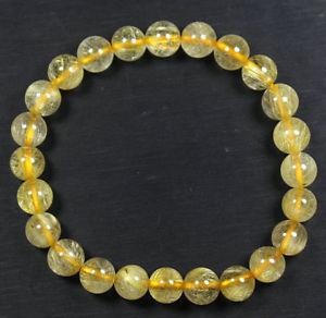 【送料無料】ブレスレット アクセサリ― ルチルラウンドビーズブレスレットtop quality natural gold rutilated quartz crystal round beads bracelet 8mm aaaa