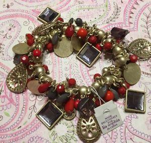 【送料無料】ブレスレット アクセサリ― ソフィアパープルレッドマットゴールドクリスタルビーズブレスレットストレッチlia sophia purple red matte gold crystal bead charm stretch bracelet nwt