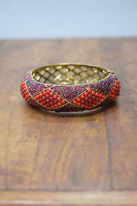 【送料無料】ブレスレット アクセサリ― ブレスレットレッドオレンジビーズアールデコゴールドカフビンテージブレスレットbracelet red orange beaded art deco gold cuff vintage bracelet