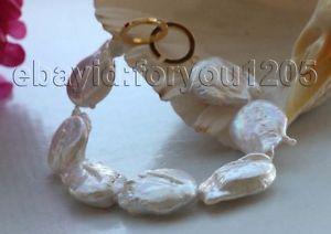 【送料無料】ブレスレット アクセサリ― 85 26mmkeshiパールブレスレット14kf199285 genuine natural 26mm white reborn keshi pearl bracelet 14k f1992