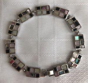 【送料無料】ブレスレット アクセサリ― ライアソフィアシェリダンブレスレットアワビモップシマメノウsilvertone712lia sophia sheridan bracelet abalone mop onyx silvertone rectangles modern 7 12