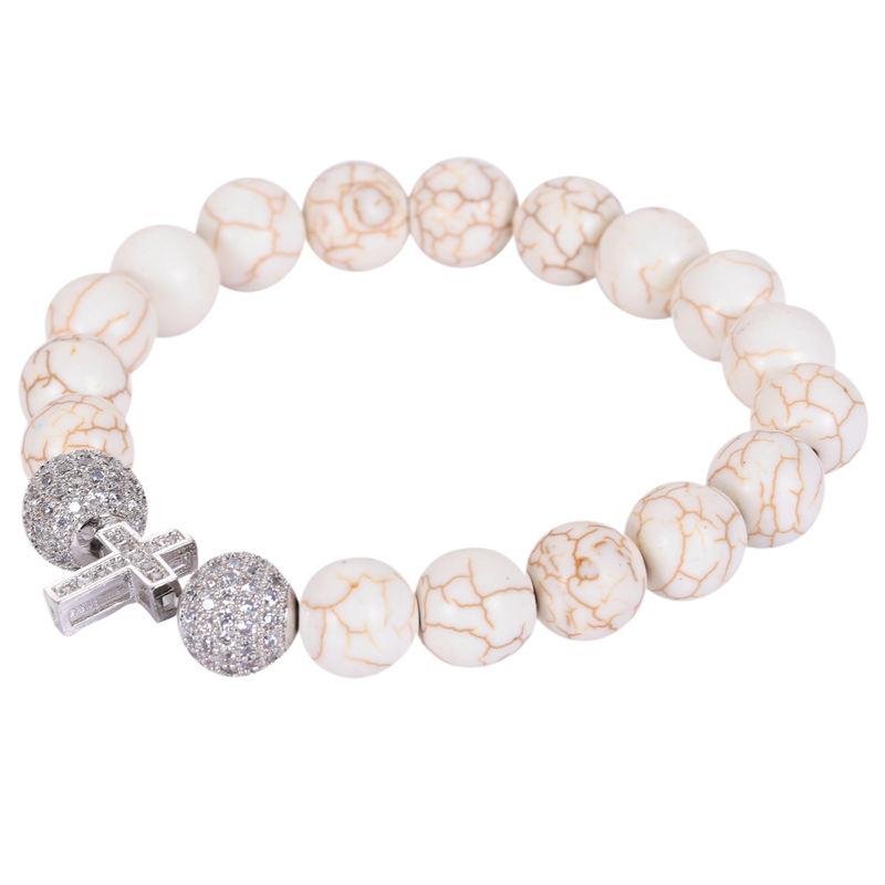 【送料無料】ブレスレット アクセサリ― 10xトルコクロブレスレットamp; cryst p1a610xstretchable sideways cross bracelet with white turquoise beads amp; cryst p1a6