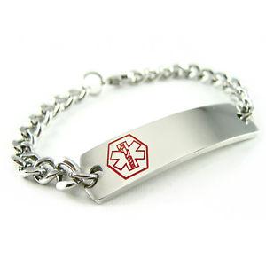 【送料無料】ブレスレット アクセサリ― ブレスレットチェーンmyiddr pre engraved lung disease medical alert id bracelet, curb chain
