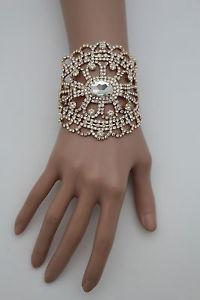 【送料無料】ブレスレット アクセサリ― ゴールドブレスレットラインストーンwomen gold metal chains wide bracelet silver rhinestones bridal wedding jewelry
