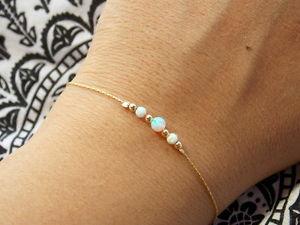 【送料無料】ブレスレット アクセサリ― オパールビーズdainty gold filled opal beaded bracelet