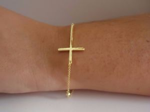 【送料無料】ブレスレット アクセサリ― イエロースターリングシルバークロスブレスレット14k yellow gold over 925 sterling silver sideways cross bracelet 9 total