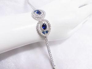 【送料無料】ブレスレット アクセサリ― 665 bracelet blue sapphire syn18kwhite gold filled gp flower vtg look665 bracelet blue sapphire syn silver 18k white gold