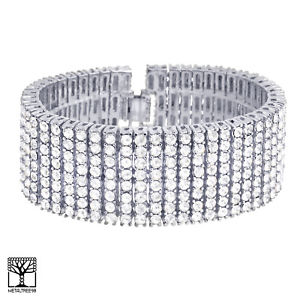 【送料無料】ブレスレット アクセサリ― cz8bling8ブレスレットnb 08 smens womens fashion silver toned cz stoned bling 8 row 8 bracelet nb 08 s