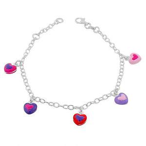 【送料無料】ブレスレット アクセサリ― スターリングシルバーマルチカラーエナメルリンクチェーンブレスレットsterling silver multicolor enamel love heart womens girls link chain bracelet