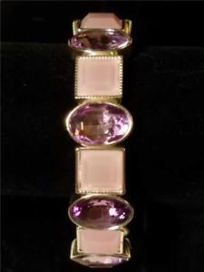 【送料無料】ブレスレット アクセサリ― モネラベンダークリスタルピンクストレッチブレスレットシルバートーンmonet lavender crystal amp; pink opaque stone stretch bracelet, silver tone setting