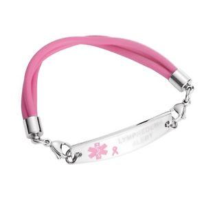 【送料無料】ブレスレット アクセサリ― ステンレスピンクリボンシリコーンブレスレットリンパアラートmedical id stainless pink ribbon silicone bracelet lymphedema alert no bp iv