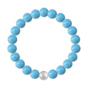 【送料無料】ブレスレット アクセサリ― シルバースワロフスキークリスタルターコイズパールブレスレットsilver swarovski crystal turquoise pearl bracelet