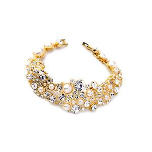 【送料無料】ブレスレット アクセサリ― ブレスレットゴールデンフラワークリスタルパールレトロbracelet golden floral crystal pearl marriage retro original ct3