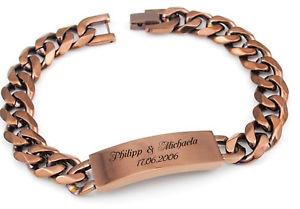 【送料無料】ブレスレット アクセサリ― ステンレススチールブレスレットブロンズリクエストソリッドexclusives id stainless steel bracelet bronze with engraving on request solid rare